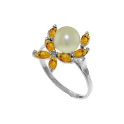 Genuine 2.65 ctw Pearl & Citrine Ring 14KT White Gold - REF-28W5Y