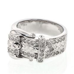 Natural 0.67 CTW Diamond Ring 18K White Gold - REF-153M2F