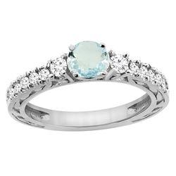 1.10 CTW Aquamarine & Diamond Ring 14K White Gold - REF-81M4A