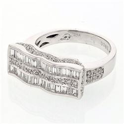 Natural 0.93 CTW Baguette & Diamond Ring 18K White Gold - REF-155Y7N