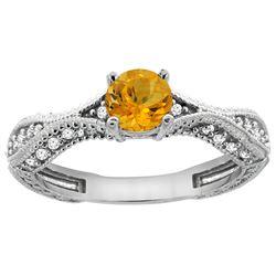 0.67 CTW Citrine & Diamond Ring 14K White Gold - REF-67V7R