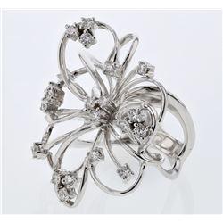 Natural 0.99 CTW Diamond Ring 18K White Gold - REF-236Y7N