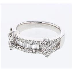 Natural 0.97 CTW Diamond & Baguette Ring 18K White Gold - REF-171H2W