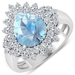 Natural 3.19 CTW Aquamarine & Diamond Ring 14K White Gold - REF-115H6M