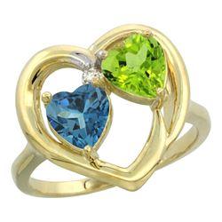 2.61 CTW Diamond, London Blue Topaz & Peridot Ring 14K Yellow Gold - REF-34R2H