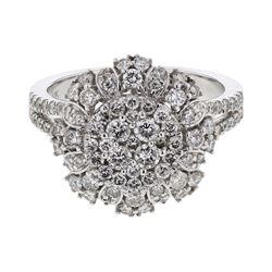 Natural 1.30 CTW Diamond Ring 14K White Gold - REF-149Y4N
