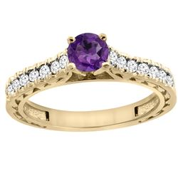 0.72 CTW Amethyst & Diamond Ring 14K Yellow Gold - REF-62A3X