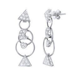 Natural 0.80 CTW Diamond Earrings 18K White Gold - REF-131X4T