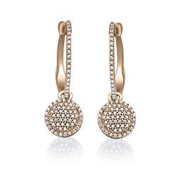 Natural 0.44 CTW Diamond Earrings 14K Rose Gold - REF-50X4T