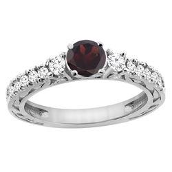1.36 CTW Garnet & Diamond Ring 14K White Gold - REF-79F5N