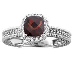 1.60 CTW Garnet & Diamond Ring 14K White Gold - REF-45X4M