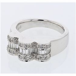Natural 0.82 CTW Baguette & Diamond Ring 14K White Gold - REF-153X9T