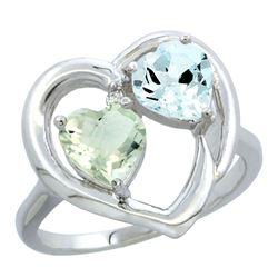 2.61 CTW Diamond, Green Amethyst & Aquamarine Ring 14K White Gold - REF-38M2K