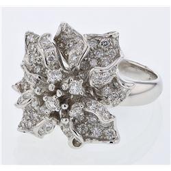 Natural 2.12 CTW Diamond Ring 18K White Gold - REF-342R9K