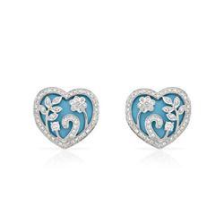 Natural 7.79 CTW Turquoise & Diamond Earrings 18K White Gold - REF-132R3K