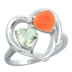 1.31 CTW Amethyst & Diamond Ring 14K White Gold - REF-33K5W