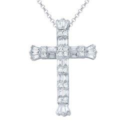 Natural 1.07 CTW Baguette & Diamond Necklace 14K White Gold - REF-133R2K