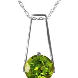 Genuine 1.45 ctw Peridot Necklace 14KT White Gold - REF-23R8P