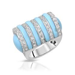 Natural 11.37 CTW Turquoise & Diamond Ring 14K White Gold - REF-244M8F
