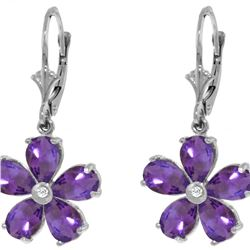 Genuine 4.43 ctw Amethyst & Diamond Earrings 14KT White Gold - REF-49Y8F