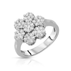 Natural 1.05 CTW Diamond Ring 18K White Gold - REF-121Y5N