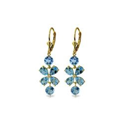 Genuine 5.32 ctw Blue Topaz Earrings 14KT Yellow Gold - REF-50X3M