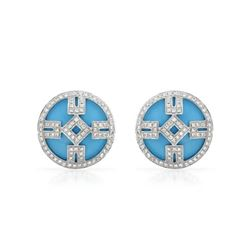 Natural 9.34 CTW Turquoise & Diamond Earrings 14K White Gold - REF-94H5W