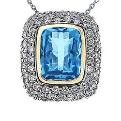 Natural 5.86 CTW Topaz & Diamond Necklace 14K Gold - REF-150Y3N