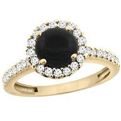 1.02 CTW Onyx & Diamond Ring 14K Yellow Gold - REF-59M9K