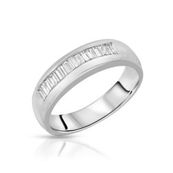 Natural 0.52 CTW Baguette Band Ring W=5MM 14K Gold - REF-108R9K
