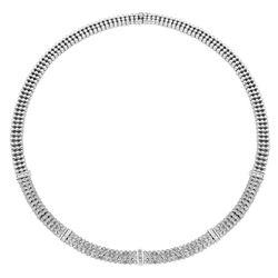 Natural 3.03 CTW Diamond & Baguette Necklace 14K White Gold - REF-679Y5N