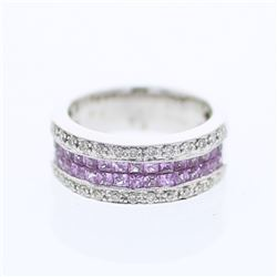 Natural 1.54 CTW Pink Sapphire & Diamond Ring 18K White Gold - REF-103Y5N