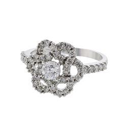 Natural 0.98 CTW Diamond Ring 14K White Gold - REF-97H2W