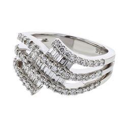Natural 1.22 CTW Diamond & Baguette Ring 18K White Gold - REF-203X4T