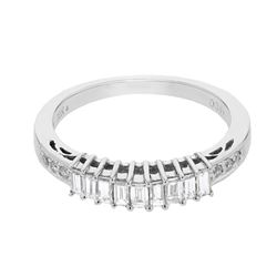 Natural 0.47 CTW Diamond & Baguette Band Ring 18K White Gold - REF-71H3W