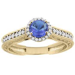 1.08 CTW Tanzanite & Diamond Ring 14K Yellow Gold - REF-63V4R