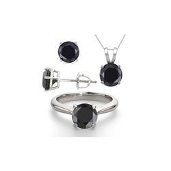 14K White Gold SET 6.0CTW Black Diamond Ring, Earrings, Necklace - REF-449X8W