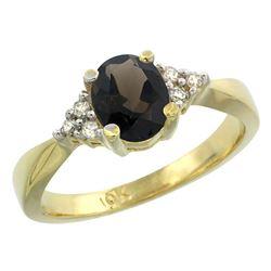 1.06 CTW Quartz & Diamond Ring 14K Yellow Gold - REF-36M9A