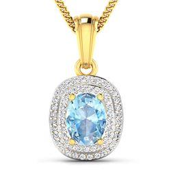 Natural 2.36 CTW Aquamarine & Diamond Pendant 14K Yellow Gold - REF-47X2K