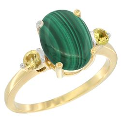 2.99 CTW Malachite & Yellow Sapphire Ring 14K Yellow Gold - REF-30M3A