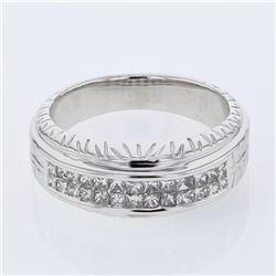 Natural 0.50 CTW Princess Diamond Ring W=7MM 14K Gold - REF-81Y2N