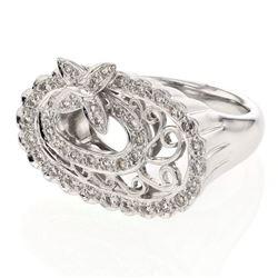 Natural 0.45 CTW Diamond Ring 14K White Gold - REF-116H3W