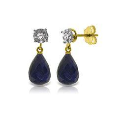 Genuine 17.66 ctw Sapphire & Diamond Earrings 14KT Yellow Gold - REF-37A4K
