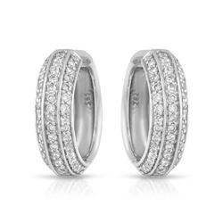 Natural 0.92 CTW Diamond Earrings 14K White Gold - REF-104R4K