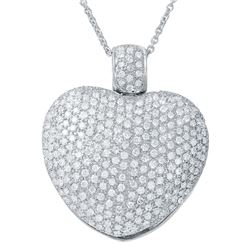 Natural 5.11 CTW Diamond Necklace 18K White Gold - REF-839Y7N