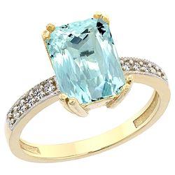 3.70 CTW Aquamarine & Diamond Ring 10K Yellow Gold - REF-51R4H