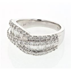 Natural 1.52 CTW Baguette & Diamond Ring 18K White Gold - REF-205X2T