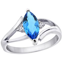 1.24 CTW Swiss Blue Topaz & Diamond Ring 14K White Gold - REF-31V2R