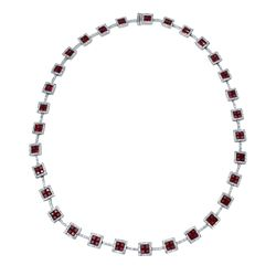 Natural 18.67 CTW Ruby & Diamond Necklace 14K White Gold - REF-604R8K