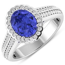 Natural 2.02 CTW Tanzanite & Diamond Ring 14K White Gold - REF-75W9X